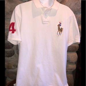 Rare Ralph Lauren Men's Ivory Polo Shirt w/emblems